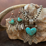 Small Baja heart Turquoise and Sterling Silver Feather hook earrings