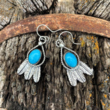 Kingman Turquoise and Sterling Silver Feather hook earrings