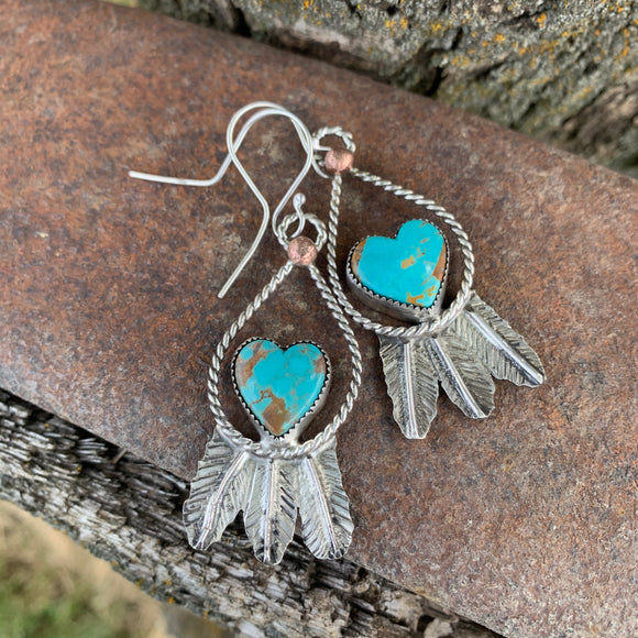#8 Turquoise and Sterling Silver Feather hook earrings
