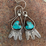 Baja Turquoise and Sterling Silver Feather hook earrings