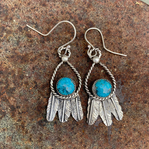 Small round Kingman Turquoise and Sterling Silver Feather hook earrings