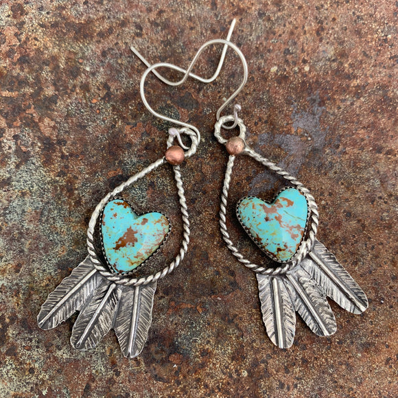 Heart shaped Baja Turquoise and Sterling Silver Feather hook earrings