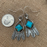 Small Square Kingman Turquoise and Sterling Silver Feather hook earrings