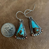 #8 turquoise statement hooked earrings