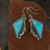 Kingman Turquoise Sterling Silver hooked earring with pistols