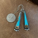 Long and dainty Baja Turquoise hooked earrings