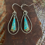 Sterling Silver and  #8 turquoise statement hooked earrings