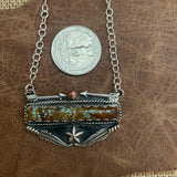 Lovely # 8 Turquoise Bar and Sterling Silver Necklace