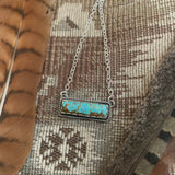# 8 Turquoise Bar and Sterling Silver Necklace