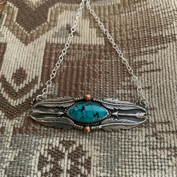Stunning Hubei Turquoise oval Bar Necklace