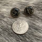 Iron Buffalo Round Post earrings