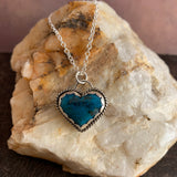 Lovely Kingman Turquoise heart Sterling Silver Necklace