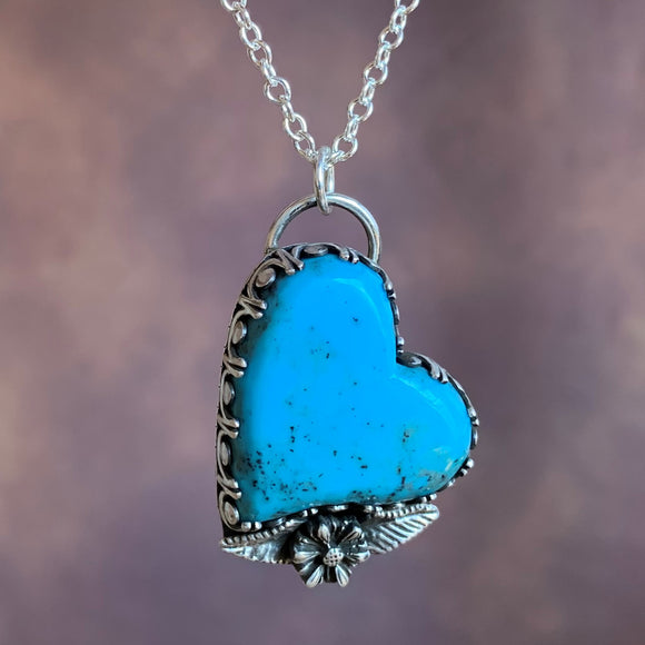 Lovely Turquoise heart Sterling Silver Necklace