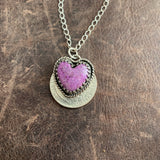 Sterling Silver and Lavender Stichtite heart necklace