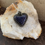 Blue Goldstone heart Sterling Silver Necklace