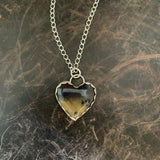 Amethyst Sage heart Sterling Silver Necklace
