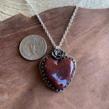 Red lace agate heart Necklace