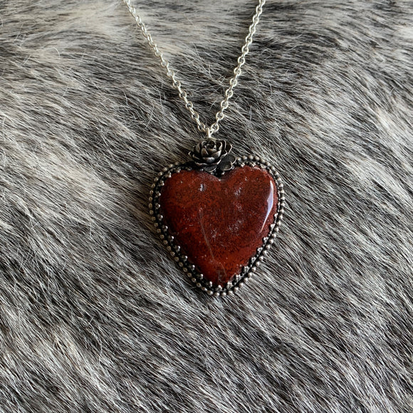 Red jasper heart Necklace