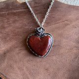 Red Moss Agate heart Necklace