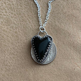 Lovely black jasper heart Sterling Silver Necklace