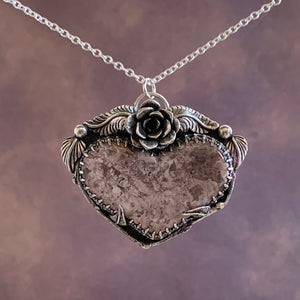 Purple Jasper heart Sterling Silver Necklace