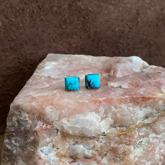 Square Kingman Turquoise Stud earrings