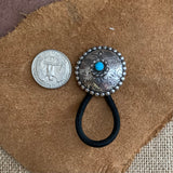 Flower with Turquoise Sterling Silver Hair Ties