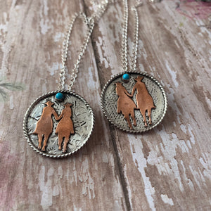1 1/8 Round Sterling silver with horse rider copper cutout