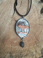 Sterling Silver Bull elk necklace with pine cone