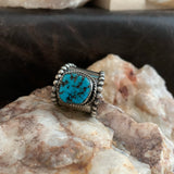 Wide Band Turquoise nugget ring Size 10.5