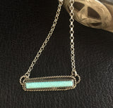 Turquoise Bar and Sterling Silver Necklace