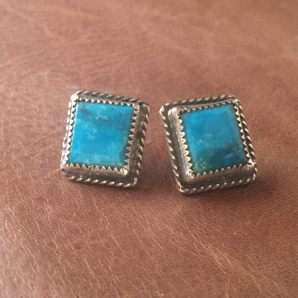 Sterling Silver Square Post with blue Kingman Turquoise Earrings