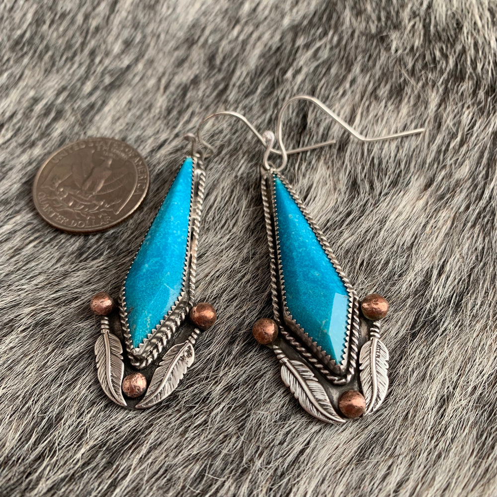Kingman Turquoise Sterling Silver earrings with Feathers