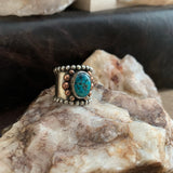 Wide Band Turquoise ring Size 9