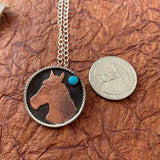 1 1/8 Round Sterling silver with horse head copper cutout