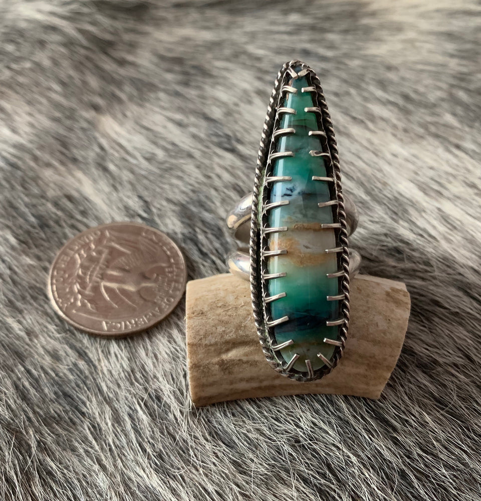 Stunning Blue Opal wood Sterling Silver Ring