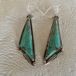Sterling Silver Feathers with Baja Turquoise Earrings