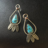 Sterling Silver feather and Turquoise Post Earrings
