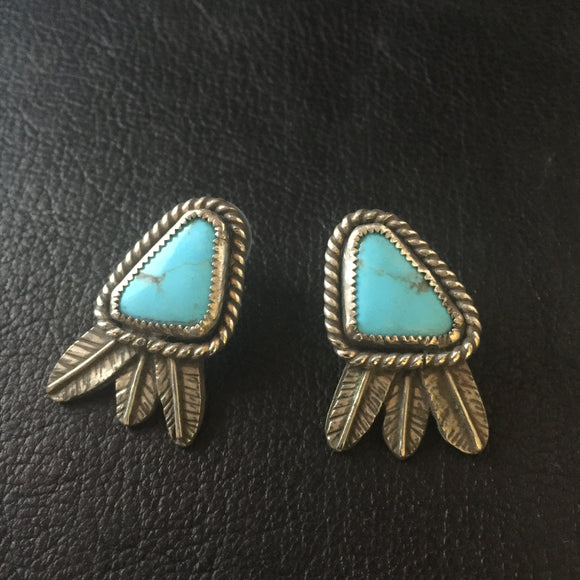 Sterling Silver Post Feather Earrings