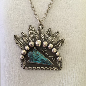 Sterling Silver Chief Feathers with a Turquoise Arrowhead Necklace