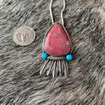Norwegian Thulite and Feathers with Kingman Turquoise.