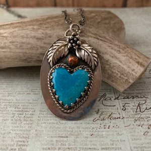 Kingman Turquoise Heart Sterling Silver Necklace