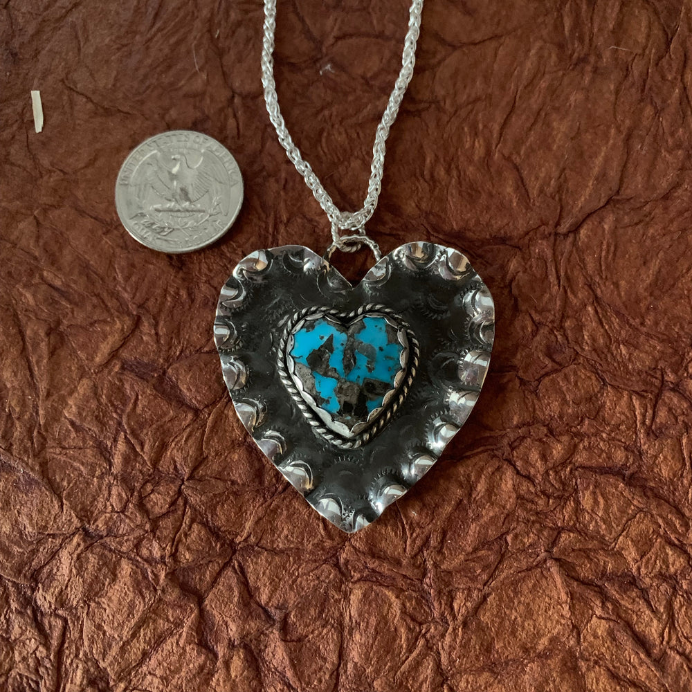 Sterling Silver ruffled Heart Necklace
