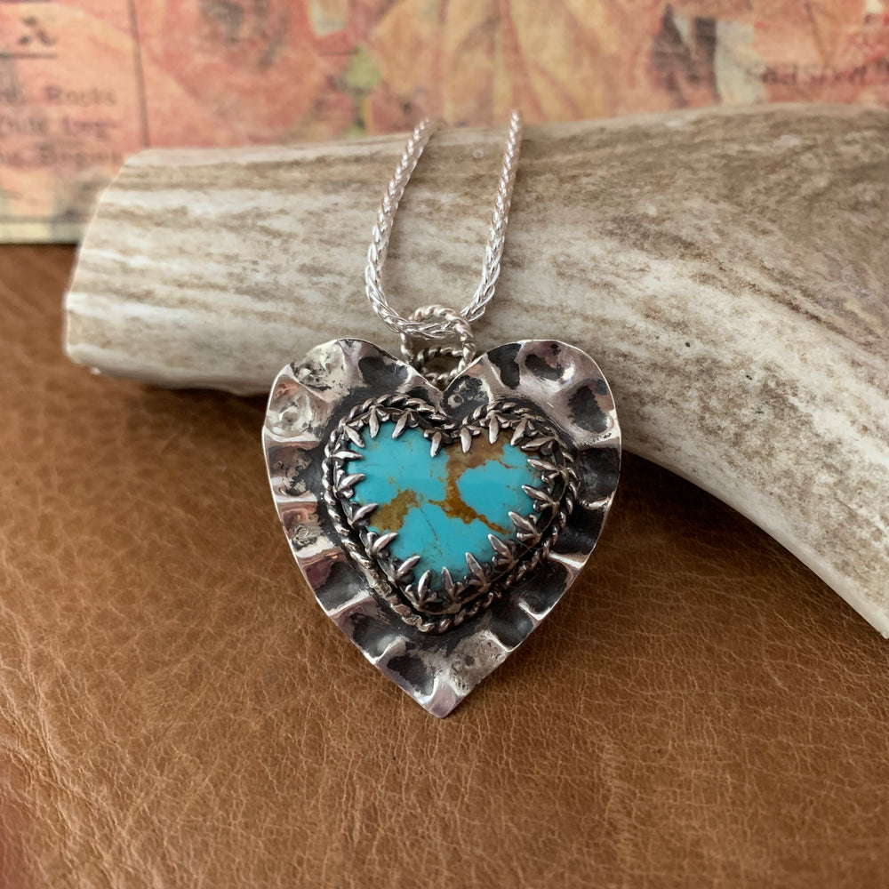 Sterling Silver Baby Baja Turquoise ruffled Heart Necklace