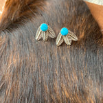 Kingman Turquoise feather post earrings