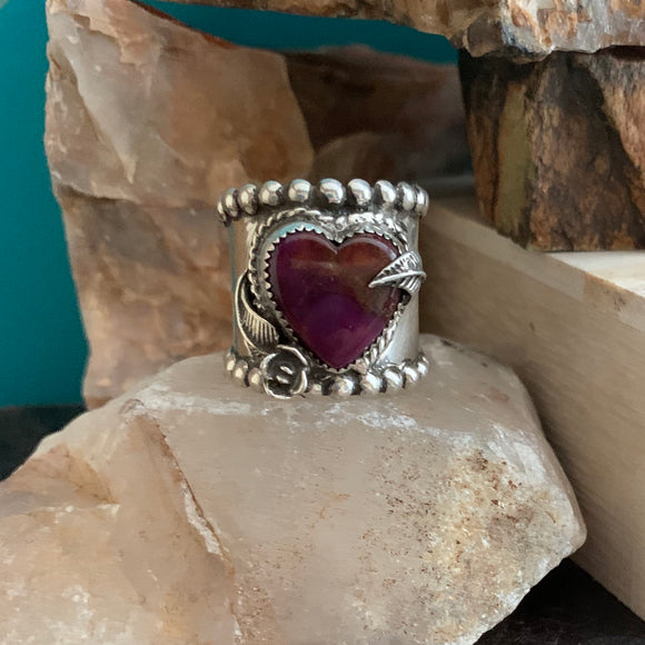 Wide Band Purple heart ring Size 8.5
