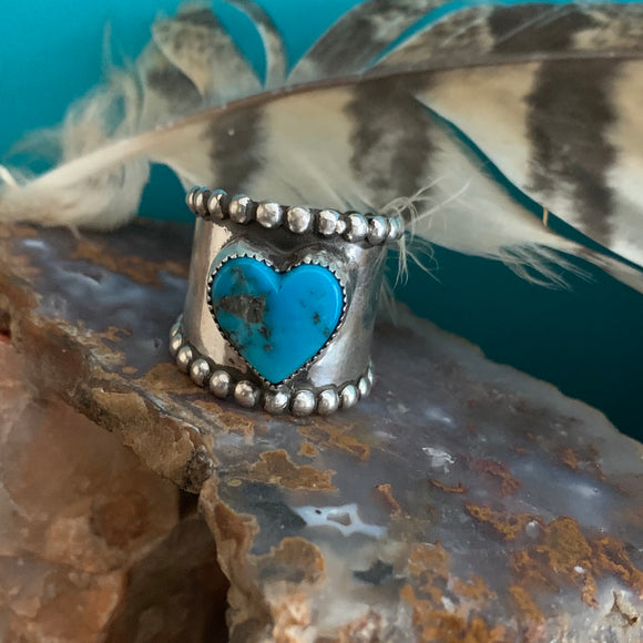Wide Band Turquoise Heart ring Size 9.5