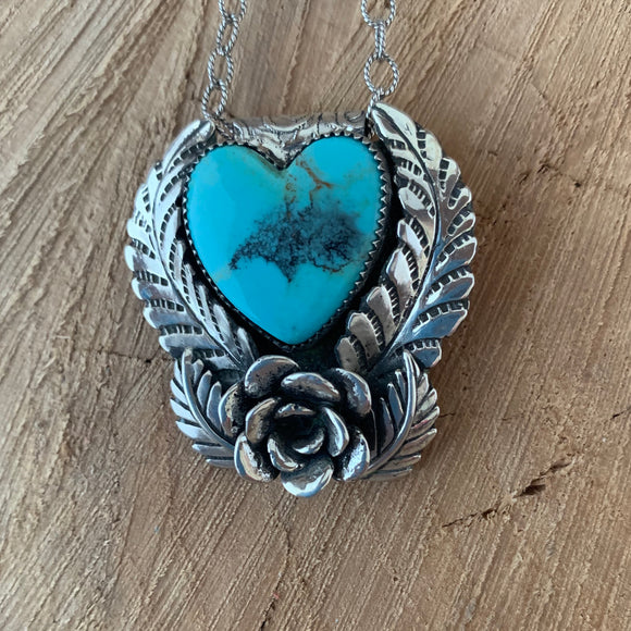 Baja Turquoise Heart Sterling Silver Necklace