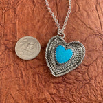 Lovely Blue Kingman Turquoise Heart Sterling Silver Necklace.