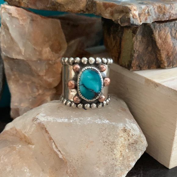 Wide Band Turquoise ring Size 10 with copper